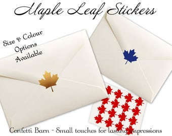 Maple Leaf Stickers, Canada Day Party, Party Invitation Stickers, Envelope Sealing Stickers, Envelope Seals, Removable Vinyl #35