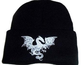 Yule Gift Winter  Ghost Dragon  Beanie Hat WiccanPaganGothic
