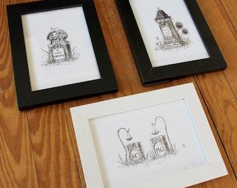 """Cemetery Plot 1 - 5"""" x 7"""" framed grave print set"""