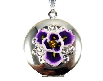 Purple Iris Locket Necklace - Iris Flower Jewelry, February Birthday Birth Flower