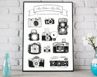 Personalised Camera Print, Vintage Cameras Poster, Vintage Camera Art, Vintage Camera Poster, Father's Day Gift, Photography Print