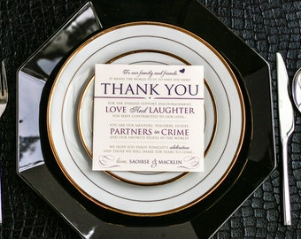 """Purple and Gold, Wedding Reception, Square Table Sign, Heart Thank You - """"Romantic Flourish"""" Reception Thank You Sign 5.25x5.25 - DEPOSIT"""