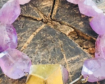 Amethyst Necklace with Toggle Lock