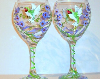 Hummingbirds and Trumpet Vine Hand Painted Wine Glasses Set of 2 - 20 oz. Glassware Birthday Lavender Flowers Bridesmaid, Maid Of Honor Gift