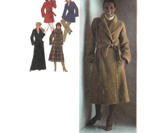 Simplicity 9183, 70s sewing pattern, size 12 women's pea coat pattern, collared wrap coat