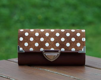 Smartphone Wallet, Womens Wallet, Brown Dots 19x10cm, Wallets for women, Long Wallet, Women's Wallet, Vegan Leather Wallet, Fabric Wallet