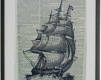 Sailing Ship Print No.571, clipper ship posters, nautical poster, nautical wall decor, dictionary art, nautical wall art, dictionary page