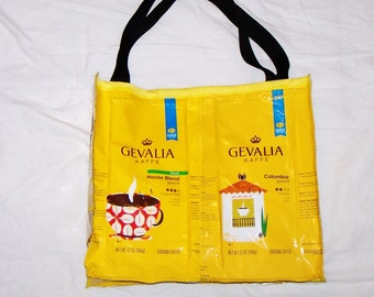 Handmade Purse Made With Recycled Gevalia Coffee bags upcycled repurposed