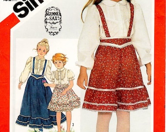 Sz 3 - Girls'/Toddler Dress Pattern Simplicity 5628 by GUNNE SAX -  Girls' Blouse and Skirt with Detachable Suspenders in Two Lengths