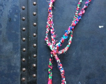 Flamingo - OOAK Handmade Braided Fabric Necklace