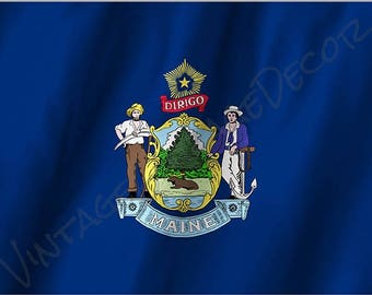 Maine State Flag on a Metal Sign