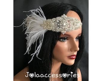 1920s flapper rhinestone headpiece headband vintage inspired feather bridal hairband feather flapper headband great gatsby hairband hairpiec