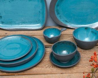 Green dessert plate 17cm, Ceramic plate, Serving Plate, Side Plate, Handmade Plate, Cake Plate, Pottery Plate, Salad Plate, porcelain plate