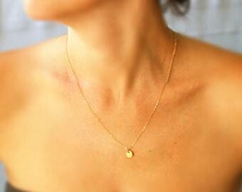 Coin necklace, circle pendant, gold necklace, disc necklace, gold disc pendant, tiny gold disc necklace, wedding, bridesmaid gift