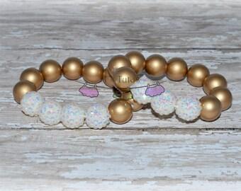 Simple Elegance Vintage Ivory Gold Chunky Bracelet Medium or Large Chunky Bead Bracelet Girls Bling Beads Chunky Bracelet Teens Moms