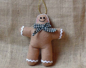 Personalized Fabric Gingerbread Christmas Tree Ornaments