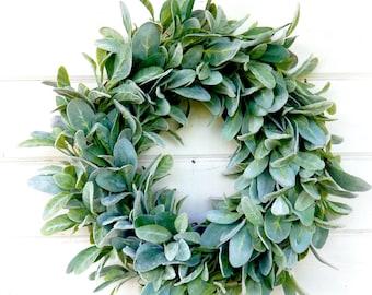 Lambs Ear-Cotton Wreaths