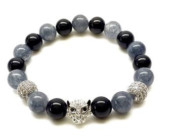 11mm CZ Diamond  Leopard Head   Two 10mm Silver Micro Pave CZ beads with 10mm Onyx & Jade Gemstones Beads Bracelet   Yoga Bracelet