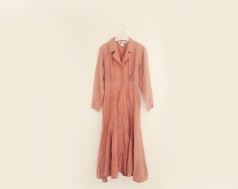 Vintage John Ranta Collection Pink Silk Dress, Womens Size 8 / ITEM593