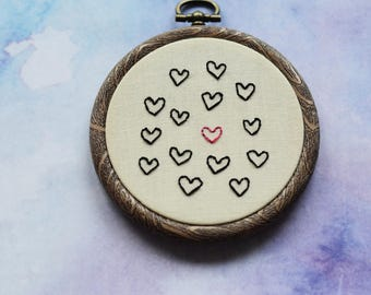 "Heart Valentine's embroidery hoop art in 3"" hoop. Home decor; embroidered art"