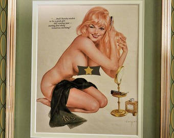 "Vargas ""Good Girl"" Pin-Up 1960's - Framed Picture"