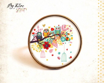 Ring Cabochon • Owls • nature tree yellow red pink blue glass flower