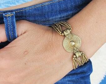 Brass Boho Coin Bracelet, Tribal Bracelet, boho bracelet, brass bracelet, beaded bracelet, Bohemian Bracelet,Tribal Jewelry,Bohemian Jewelry