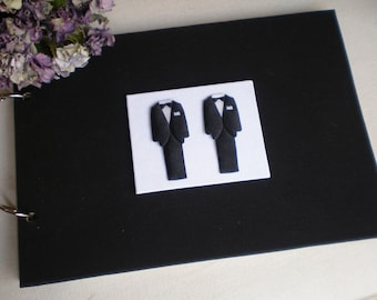 Gay Wedding guestbook - Mr and Mr wedding-black and white guest book- modern design keepsake