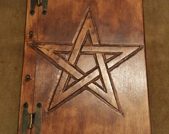 Wooden handmade book with Pentagram - FREE UK SHIPPING!