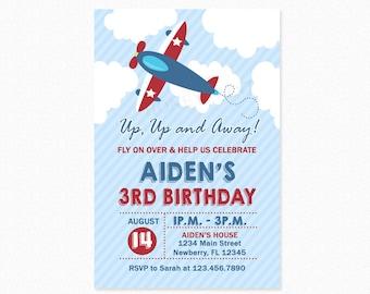 Airplane Birthday Party Invitation, 1st Birthday Invitation, Personalized, Printable or Printed Invitation