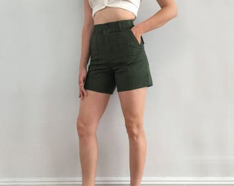 Vintage Green Utility Work Trouser Shorts