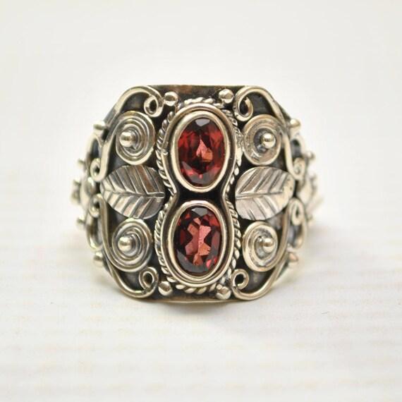 Sterling Silver Garnet Ring Sz 7.5 #9255