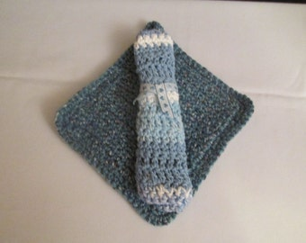 Double Sided Crochet Pot Holder and Matching Blue Dish Cloth