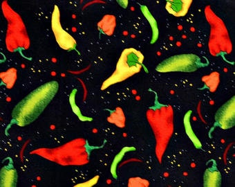 Peppers/Salsa - Food/Vegetables/Cooking - 100% Cotton Fabric [[by the half yard]]
