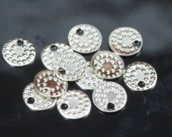 200 pcs nickel plated brass 6,5 mm circle tag charms ,findings 85N-26 tmlp