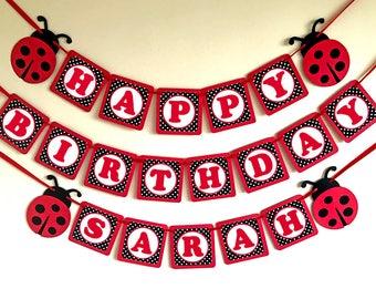 Ladybug Banner, Ladybug Birthday Banner, Ladybug Party, Ladybug Baby Shower banner Ladybug Garland 1st Birthday ladybug decorations bunting