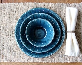 Blue Dinnerware Set - Dinner Plate, Salad Plate, Soup Bowl - Deep Sea Blue - One Place Setting - Modern Handmade Dinnerware - Made to Order