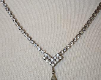 Vintage Rhinestone Tear Drop Necklace