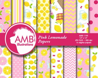 Pink Lemonade Digital Papers, lemon paper, Lemonade paper, Picnic Paper, lemon scrapbook pages for your projects  AMB-1195