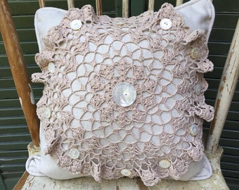 Vintage Crochet  Doily Pillow with White linen, Vintage Buttons, white linen back