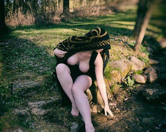 Woman in the sun reaching for a stream Outdoor nude fine art photo print Naked in nature digital wall art  - Dreams of the Priestess - 05
