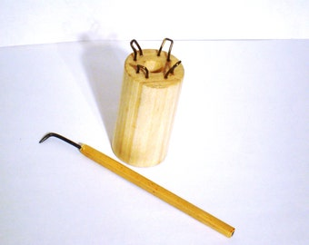 Knitting Spool and Loom Hook Set. Peg Knitter & Hook. Wooden Corking Tool and Bamboo Handle Hook. Strickliesel Tricotin Loom Knitting Hook