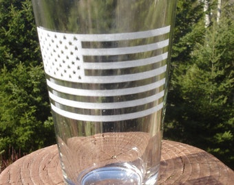 American Flag Etched Glassware