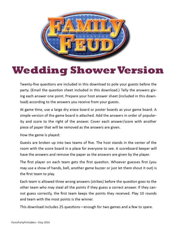 Wedding Shower Family Feud Printable Game Bachelorette