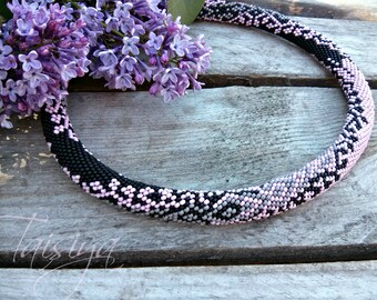 Pink-gray necklace from beads, gift, necklace, beaded jewelry, beaded necklace, gift for women, gift for the anniversary.