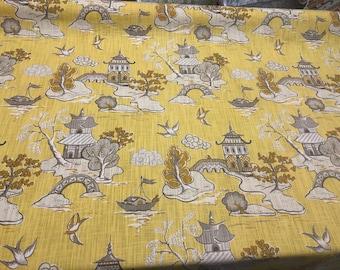 Xanadu Modern Toile Lemon Drop Yellow Home Accent Fabric By The Yard