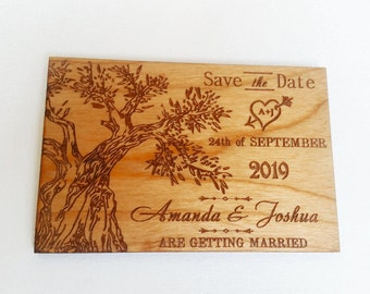 100 unique save the dates/ wood save the date magnet / wedding magnet / tree of life magnet