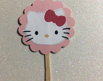Hello kitty cupcake topper 10 ct