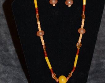 Amber Carnelian Earring Necklace set