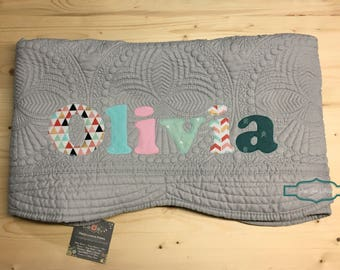 Personalized baby gift etsy personalized baby quilt personalized baby gift monogrammed quilt baby shower gift baby negle Image collections